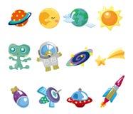 Ícones do elemento do espaço dos desenhos animados ajustados ilustração do vetor