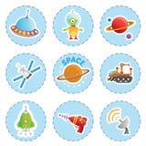 Ícones do elemento do espaço dos desenhos animados ajustados Imagem de Stock Royalty Free