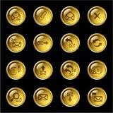 Ícones do email da gota do ouro Fotografia de Stock