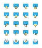 Ícones do email & da mensagem, cor monocromática - Vector a ilustração Fotos de Stock Royalty Free