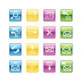 Ícones do email do Aqua Imagens de Stock