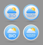 Ícones do emblema do bio e produto natural ilustração royalty free