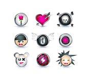Ícones do emo dos desenhos animados Fotografia de Stock