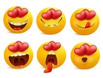 Ícones do emoticon do dia de Valentim, grupo do emoji do amor, isolado no fundo branco Fotografia de Stock Royalty Free
