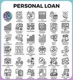 Ícones do empréstimo pessoal ilustração royalty free