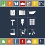 Ícones do encanamento ajustados Utiliza ferramentas a ilustração Imagens de Stock