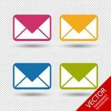 Ícones do envelope da mensagem para Apps e Web site - ilustração colorida do vetor Imagem de Stock Royalty Free