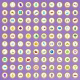 100 ícones do equipamento da aptidão ajustados no estilo dos desenhos animados Fotografia de Stock Royalty Free
