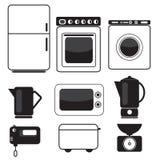 Ícones do equipamento da cozinha Imagens de Stock