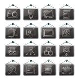 Ícones do equipamento da fotografia Fotografia de Stock