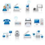 Ícones do equipamento de escritório Fotografia de Stock