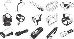 Ícones do equipamento de iluminação Imagens de Stock