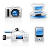 Ícones do equipamento dos media Imagem de Stock