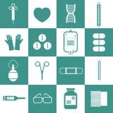 Ícones do equipamento médico ajustados Foto de Stock