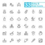 Ícones do esboço do bebê e das crianças foto de stock royalty free