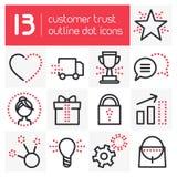 Ícones do esboço da confiança do cliente Fotografia de Stock Royalty Free