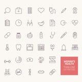 Ícones do esboço da saúde da mulher Imagens de Stock Royalty Free