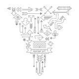 Ícones do esboço da seta ajustados Fotografia de Stock Royalty Free