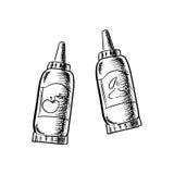 Ícones do esboço das garrafas da ketchup e da mostarda Fotografia de Stock