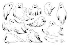 Ícones do esboço de Dia das Bruxas Imagens de Stock
