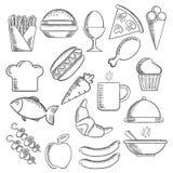 Ícones do esboço do alimento e dos petiscos Fotografia de Stock Royalty Free