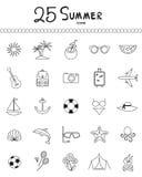 Ícones do esboço do feriado e do verão - vetor Imagem de Stock