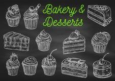 Ícones do esboço do giz da padaria e das sobremesas Imagens de Stock