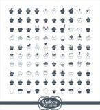 100 ícones do esboço do queque Imagens de Stock