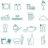 Ícones do esboço do restaurante e do bar ajustados Imagem de Stock Royalty Free