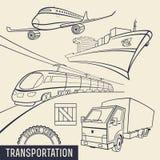 Ícones do esboço do transporte Imagem de Stock