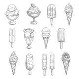 Ícones do esboço do vetor do gelado de sobremesas frescas ilustração do vetor