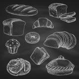 Ícones do esboço do vetor do giz do pão no quadro-negro ilustração do vetor