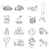 Ícones do esboço dos brinquedos ajustados ilustração stock
