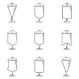 Ícones do esboço para a flâmula Imagem de Stock