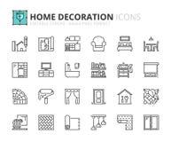 Ícones do esboço sobre a decoração home Fotos de Stock