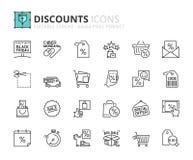 Ícones do esboço sobre discontos Fotografia de Stock