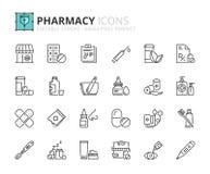 Ícones do esboço sobre a farmácia Imagens de Stock Royalty Free