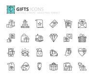 Ícones do esboço sobre o presente Foto de Stock