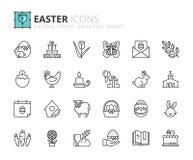 Ícones do esboço sobre a Páscoa Fotografia de Stock