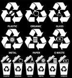 Ícones do escaninho dos desperdícios com tipos diferentes de lixo: Orgânico, plástico, metal, papel, vidro, lixo eletrônico para  foto de stock royalty free