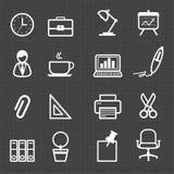 Ícones do escritório e fundo preto Imagem de Stock