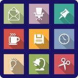 Ícones do escritório em fundos coloridos Imagens de Stock