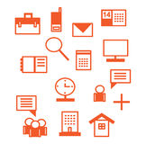 Ícones do escritório no vermelho Imagens de Stock Royalty Free