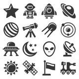 Ícones do espaço ajustados Imagens de Stock Royalty Free