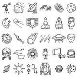Ícones do espaço ajustados ilustração do vetor