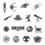 Ícones do espaço ajustados Fotografia de Stock Royalty Free