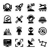 Ícones do espaço ajustados ilustração royalty free