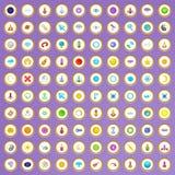 100 ícones do espaço ajustados no estilo dos desenhos animados Foto de Stock Royalty Free