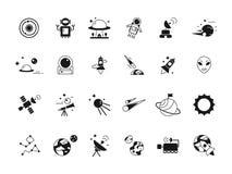 Ícones do espaço do explorador Astronautas da canela do telescópio na lua e em vários satélites dos planetas Silhuetas do vetor d ilustração royalty free