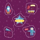 Ícones do espaço na coleção do estilo dos desenhos animados Imagem de Stock Royalty Free